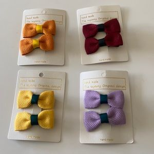 🆕Girls Solid Colour Bow Hair Pin 4 Pairs